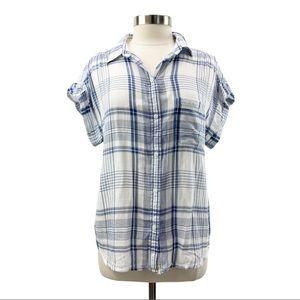 American Eagle Plaid Short Sleeve Gauze Top Blue L